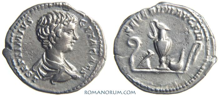 Ancient Coins - GETA. (AD 209-211) Denarius, 2.97g.  Rome. Sacrificial implements. Great portrait.