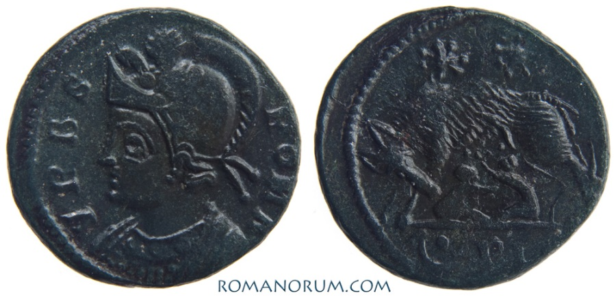 Ancient Coins - VRBS ROMA commemorative. AE3, 2.44g.  Lugdunum. Very nice patina