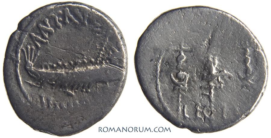 Ancient Coins - MARK ANTONY. (44-31 BC) Denarius, 2.71g. Modest legionary denarius.