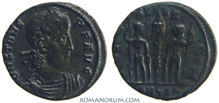 Ancient Coins - CONSTANS. (AD 337-350) AE3, 1.79g.  Thessalonica. GLORIA EXERCITVS. Scarce as Augustus.