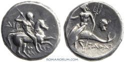 Ancient Coins - CALABRIA, TARENTUM. AR Nomos, 6.17g.  Head of nymph.