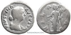 Ancient Coins - FAUSTINA JUNIOR. (Wife of Marcus Aurelius) Denarius, 2.85g.  Rome. Hilaritas