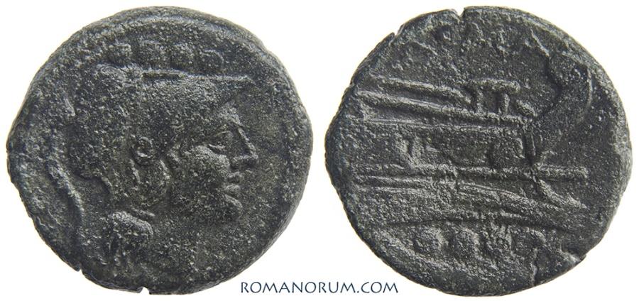 Ancient Coins - Anonymous Triens. Triens, 8.55g.  Rome. Minerva, Galley, four pellets.