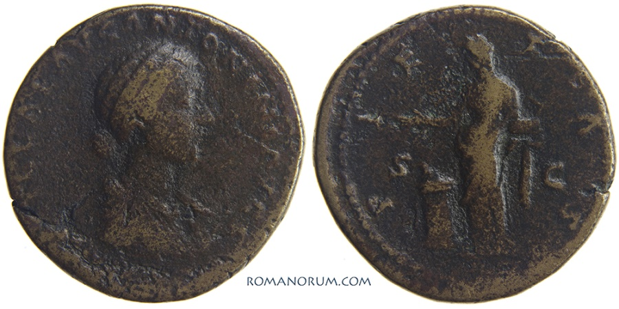 Ancient Coins - LUCILLA. (Sister of Commodus, wife of Lucius Verus) Sestertius, 25.29g.  Rome. Old collection ticket.