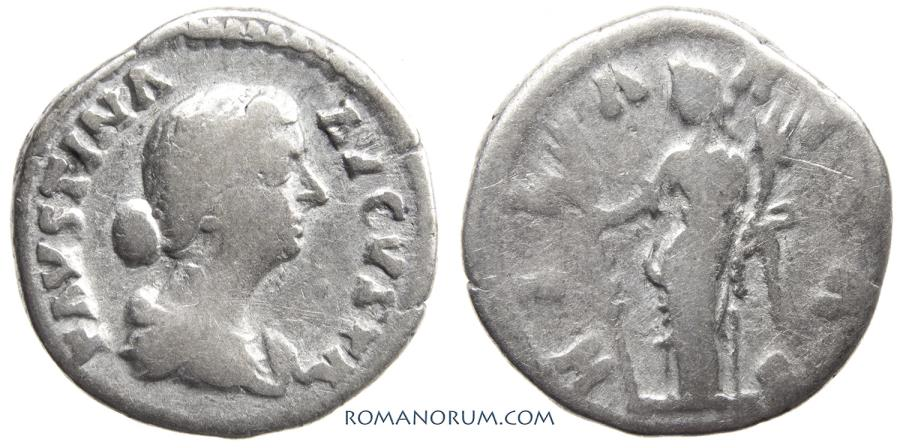 Ancient Coins - FAUSTINA JUNIOR. (Wife of Marcus Aurelius) Denarius, 2.85g.  Rome. Hilaritas