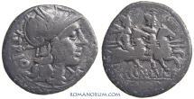Ancient Coins - Cn. LUCRETIUS TRIO. (136 BC) Denarius, 3.33g.  Rome.
