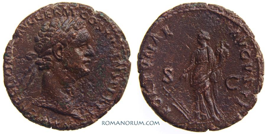 Ancient Coins - DOMITIAN. (AD 81-96) As, 11.30g.  Rome. FORTVNAE AVGVSTI