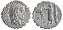Ancient Coins - POSTUMIUS ALBINUS. (81 BC) Denarius serratus, 3.86g.  Rome.