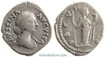 Ancient Coins - FAUSTINA JUNIOR. (Wife of Marcus Aurelius) Denarius, 3.30g.  Rome. FECVNDITAS, very appropriately. Wonderful portrait.