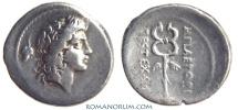 Ancient Coins - M. Plaetorius M.f. Cestianus. Denarius, 3.70g.  Rome. M PLAETORI Caduceus
