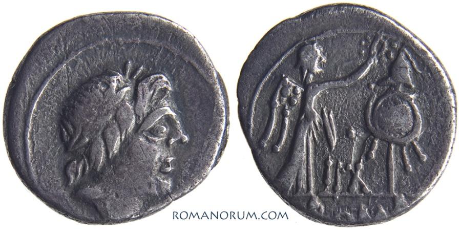 Ancient Coins - ANONYMOUS QUINARIUS. (81 BC) Quinarius, 1.60g.  Rome. Toned.
