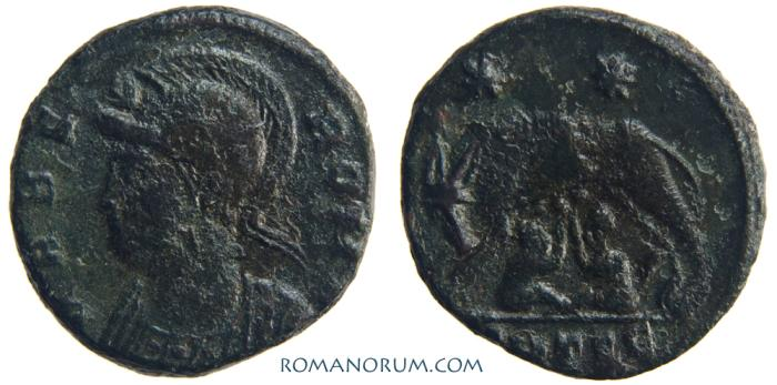 Ancient Coins - Vrbs Roma Commemorative. AE3, 2.71g.  Thessalonica. Romulus and Remus.