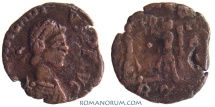 Ancient Coins - ARCADIUS. (AD 383-408) AE4, 0.72g.  Rome. VICTORIA AVGGG Actually rare. Featured in wildwinds.com