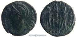 Ancient Coins - VRBS ROMA commemorative. AE3, 1.34g.  Constantinopla. GLORIA EXERCITVS Actually scarce.