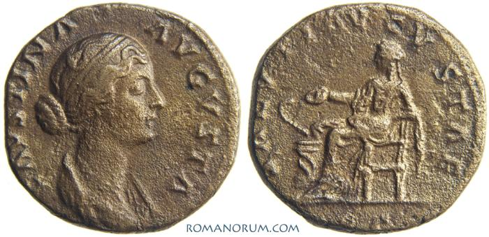 Ancient Coins - FAUSTINA JUNIOR. (Wife of Marcus Aurelius) As, 10.57g.  Rome. SALVTI AVGVSTAE