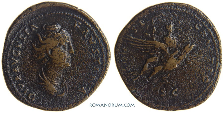 Ancient Coins - FAUSTINA SENIOR. (AD 138-141) Sestertius, 24.26g.  Faustina riding eagle. Rare. Featured in wildwinds.com