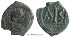 Ancient Coins - JUSTINIAN I. (AD 527-565) 16 Nummi, 5.92g.  Thessalonica. IS / A.  Scarcer Chi Rho above.