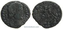 Ancient Coins - MAGNENTIUS. (AD 350-53) AE Centenionalis, 4.21g.  Trier. Nimbate emperor, thus rarer.