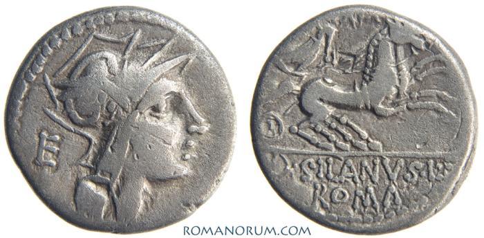Ancient Coins - D. SILANUS L. f.. (91 BC) Denarius, 3.74g.  Rome. SILANVS L
