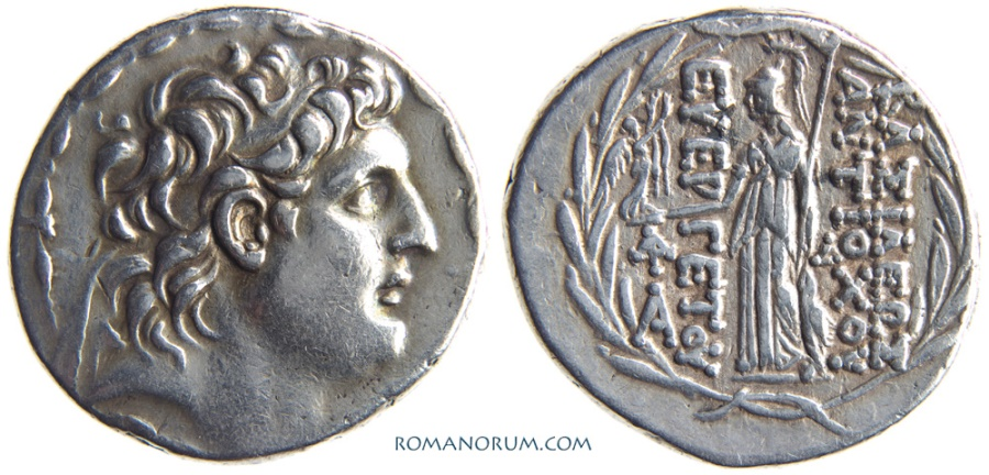 Ancient Coins - SELEUKID KINGDOM. ANTIOCHOS VII, EUERGETES. (138-129 BC) Tetradrachm, 16.75g.  Antioch.