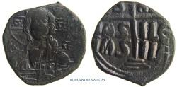 Ancient Coins - ROMANUS III, ARGYRUS. CLASS B ANONYMOUS FOLLIS. (AD 1028-34) Follis, 10.03g.  Constantinopolis. IS \ XS