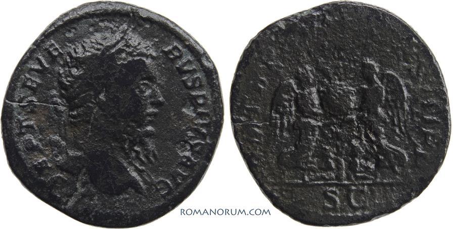 Ancient Coins - SEPTIMIUS SEVERUS. (AD 193-211) Sestertius, 22.93g.  Rome. The Britannia campaign. Scarce.