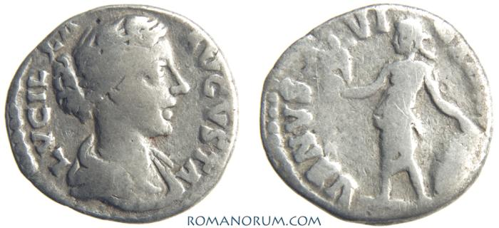 Ancient Coins - LUCILLA. (Sister of Commodus, wife of Lucius Verus) Denarius, 2.52g.  Rome. VENUS VICTRIX