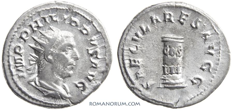 Ancient Coins - PHILIP I, The Arab. (AD 244-249 AD) Antoninianus, 4.00g.  Rome. Celebrating Rome's first millennium.