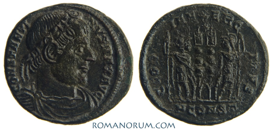 Ancient Coins - CONSTANTINE I, The Great . (AD 306-337) AE3, 2.78g.  Arles. GLORIA EXERCITVS