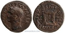 Ancient Coins - TITUS / AUGUSTUS. Restitution issue by Titus.  As, 10.03g.  Rome. Scarce.
