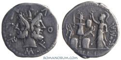 Ancient Coins - M Furius Lf Philus. (119 BC) Denarius, 3.69g.  Rome. Janus. Gallic trophy.