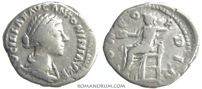 Ancient Coins - LUCILLA. (Sister of Commodus, wife of Lucius Verus) Denarius, 3.01g.  Rome. CONCORDIA. Minted under Lucius Verus.