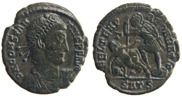 Ancient Coins - CONSTANTIUS II. AE3, 2.42g.  Thessalonica. FEL TEMP REPARATIO.