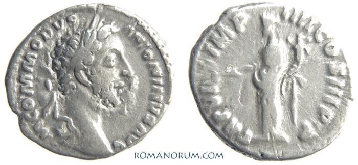 Ancient Coins - COMMODUS. (AD 180-192) Denarius, 2.76g.  Rome. PAX. Overstruck.