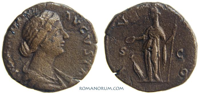 Ancient Coins - FAUSTINA JUNIOR. (Wife of Marcus Aurelius) As, 11.23g.  Rome. IVNO / SC