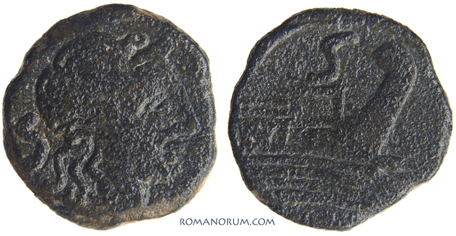 Ancient Coins - Anonymous Semis. (After 211 BC) 6.53g.  Rome. Saturn, Galley.