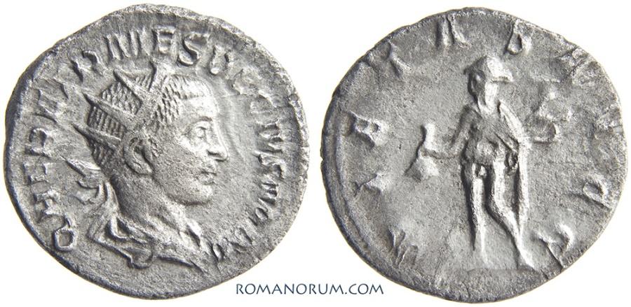 Ancient Coins - HERENNIUS ETRUSCUS. (AD 251) Antoninianus, 2.84g.  Rome. Mercury.