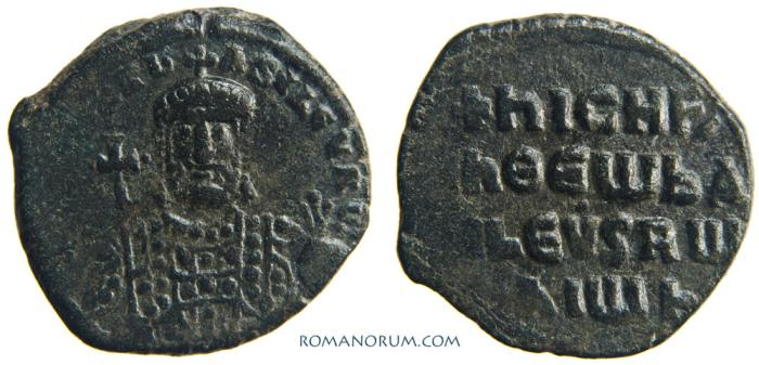 Ancient Coins - Nicephorus II Phocas. (AD 963-969 ) Follis, 7.52g.  Constantinopla. Scarce. Wonderful patina.