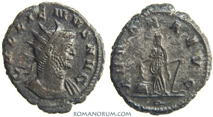Ancient Coins - GALLIENUS. (AD 253-268) Antoninianus, 4.72g.  Rome. ANNONA AVG Drapery on left shoulder. Scarce.