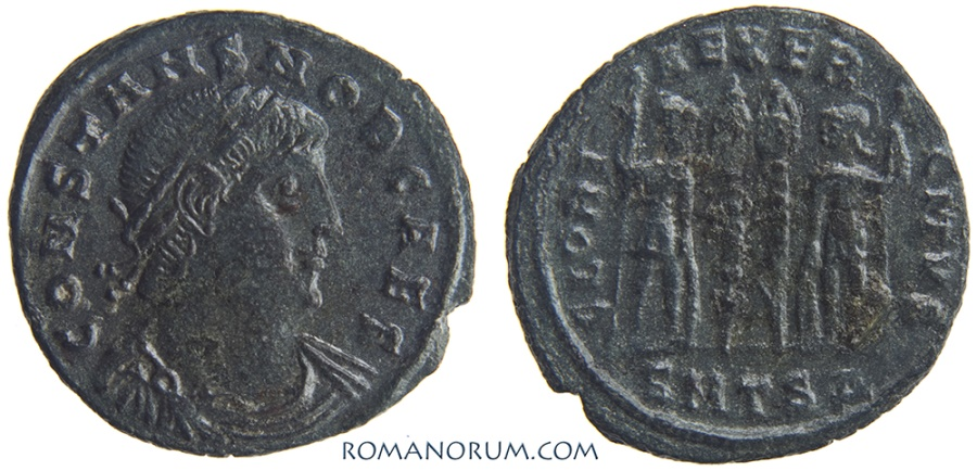Ancient Coins - CONSTANS. (AD 333-350) AE3, 2.31g.  Thessalonica. Unusual older Constans portrait.