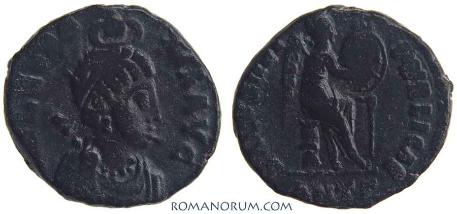 Ancient Coins - AELIA EUDOXIA. (Wife of Arcadius d. AD 404) AE3, 2.54g.  Antioch. Nice patina.