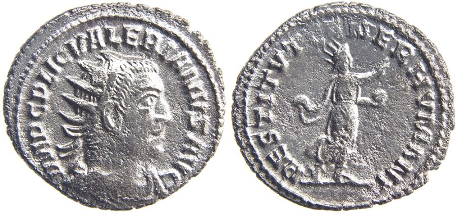 Ancient Coins - VALERIAN. (AD 253-260) Antoninianus, 3.68g.  Antioch. Rather scarce. Restorer of the Human Race
