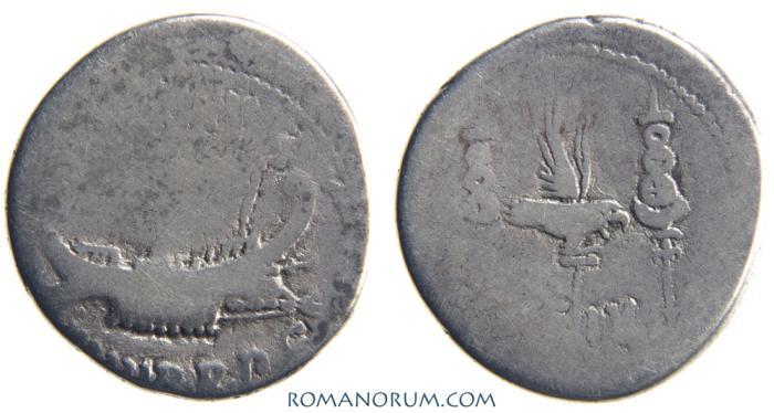 Ancient Coins - MARK ANTONY. Denarius, 3.42g.   LEG IV. Legionary denarius.