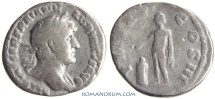 Ancient Coins - HADRIAN. (AD 117-138) Denarius, 2.36g.  [Rome]  Tiny, spontaneous hole under chin.