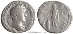 Ancient Coins - HADRIAN. (AD 117-138) Denarius, 2.36g.  [Rome]  Tiny, spontaneous hole under chin.