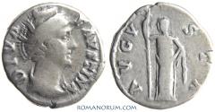 Ancient Coins - FAUSTINA SENIOR. (Wife of Antoninus Pius, Mother in law of Marcus Aurelius) Denarius, 3.45g.  Rome.