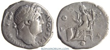 Ancient Coins - HADRIAN. (AD 117-138) Denarius, 2.91g.  Rome. Globe in exergue. Rare. Featured in wildwinds.com