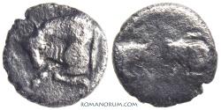 Ancient Coins - CARIA.. Hemiobol., 0.31g.  Uncertain mint. Three bulls.