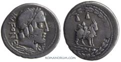 Ancient Coins - Mn. FONTEIUS C.f .. (85 BC) Denarius, 3.80g.  Rome. Toned. Larger goat.