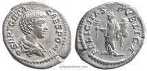 Ancient Coins - GETA. (AD 209-211) Denarius, 3.14g.  Rome.